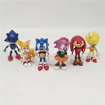 Figura muñeca sónica Juego de 6 muñecas de arcilla de anime del juego Sonic the hedgehog adornos para niños regalos promocionales de juguetes de dibujos animados