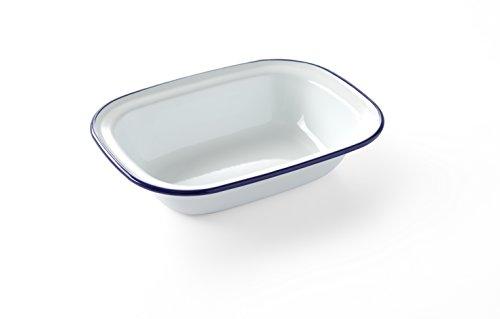 HENDI Schüssel, Rechteckig, mit einem schönen blauen Rand, Speisen und DessertsSchüssel, 215x160mm