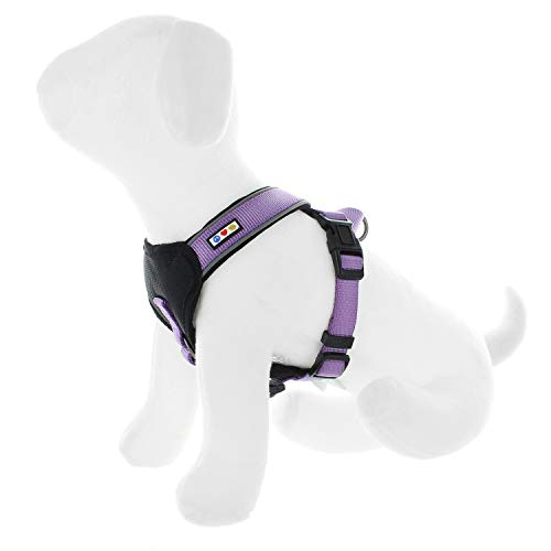 Pawtitas Pet Accessories Adjustable Padded Reflective Dog Harness, Step in Or Vest Harness, Comfort Control Walk, Puppy Trainer, Reduces Pull Tugging, Choking M Medium Purple Orchid
