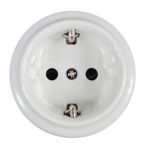 Base Enchufe Euro 16a Porcelana Blanco