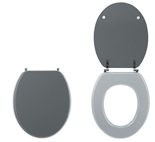 Wirquin 20719739 - Sedile copri WC bicolore, colore: Grigio chiaro/scuro