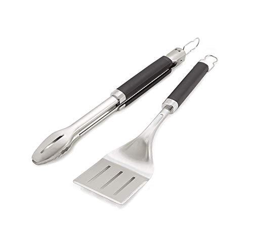 Weber Precision Grill Tongs & Spatula Set Premium Grillbesteck-2-teilig, Schwarz/Silber