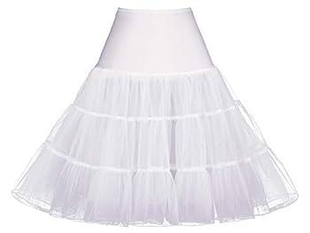 White Petticoats Women Crinoline Slips Underskirt Tutu Dress Puffy Vintage 50S Rockabilly Knee-Length Fluffy Under Skirt