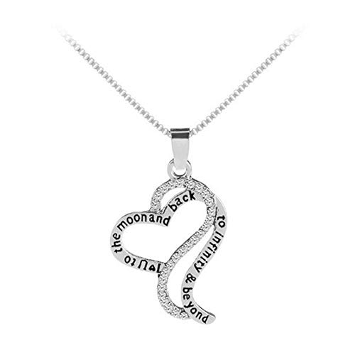 Cerolopy Crystal Necklace Zinc Alloy Necklace Pendant Chain Jewelry with 18inch for Women Girls Birthday Present (Silver)