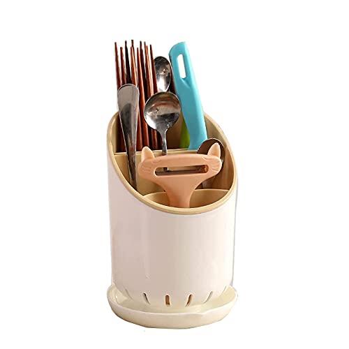 Escurridor Cubiertos, Escurridor y Organizador con 3 Compartimentos y 2 Ranuras Para Cuchillos con Bandeja de Drenaje Extraíble en la Parte Inferior Para Utensilios de Cocina Cuchara(A)