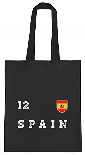 ShirtStreet Espana Spain Fußball WM Fanfest Gruppen natur Jutebeutel Stoffbeutel Tote Bag Trikot Spanien, Größe: onesize,schwarz natur