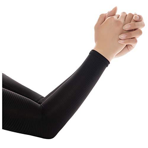 1 Paar Unisex Arm Ärmel Armlinge Sport UV Schutz Arm Sleeves Armlinge Arm Kühler Abdeckung für Laufen Radsport Fußball Laufen Golf Aktivitäten im Freien mit Kühleffekt und UV-Schutz (Schwarz)