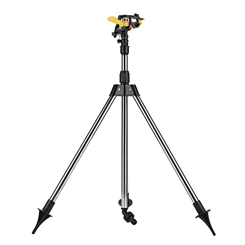 Impact Sprinkler on Tripod,Stainless Steel Tripod Water Irrigation Tool Plastic Sprinkler Auto System Garden Lawn Supplies for Raised Bed Garden Tripod Adjusts Quickly and Easily