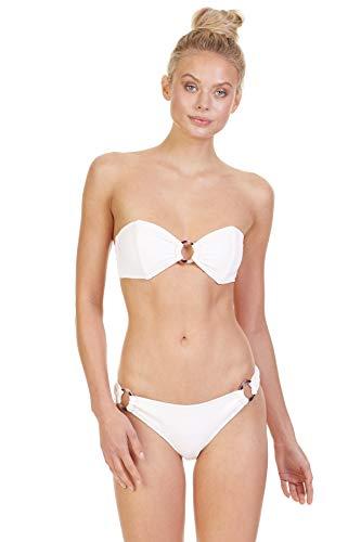 Tori Praver Women's French Bloom Bandeau Bikini Top Moonstone M