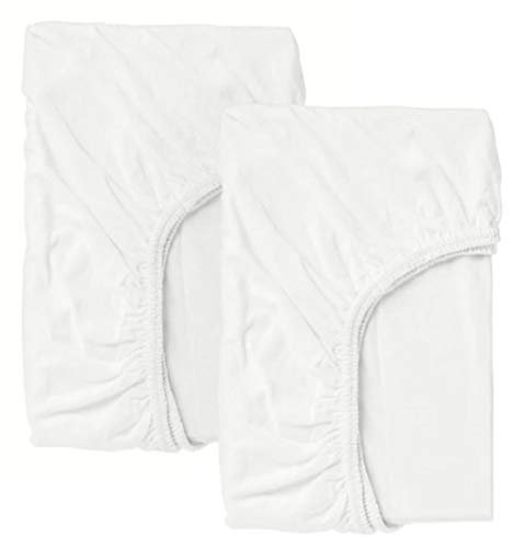 Ikea len - Sábana Ajustable para Cuna, Blanco / 2 Pack - 60x120 cm