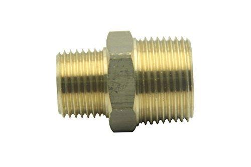 """Conector de mamelón reductor hexagonal de manguera de latón sin plomo, 3/4\""""x1/2\"""", aire de NPT macho, agua y aire (paquete de 5)"""