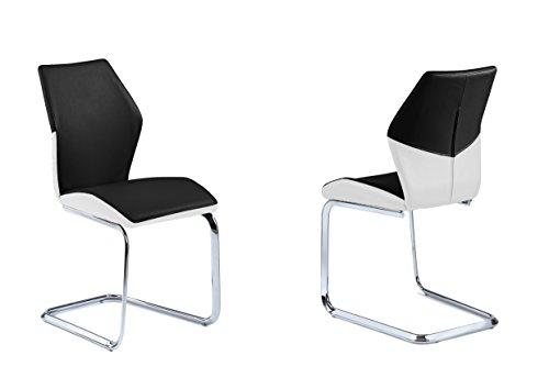 HOMEXPERTS, Schwinger SNAP, Schwingstühle 2er Set, Kunstlederbezug in schwarz mit weißen Applikationen, Untergestell aus verchromtem Flachstahl, B 45, H 90, T 61 cm