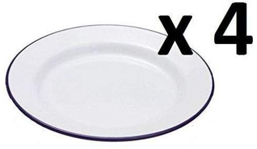Set of 4 Traditional Falcon White Enamel Dinner Plate Roasting Baking (26cm)