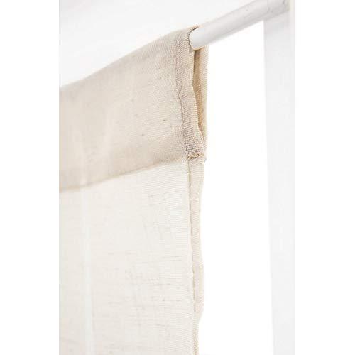 RideauDiscount Paire de Vitrages 60 x 120 cm à Passe Tringle Effet Lin avec Traits Discrets Ecru
