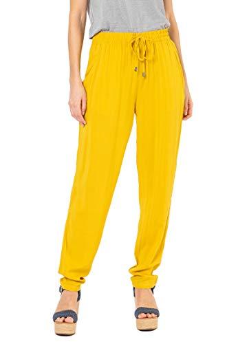 Sublevel Damen Sommer Stoff-Hose mit Gummibund & Kordelzug Yellow M