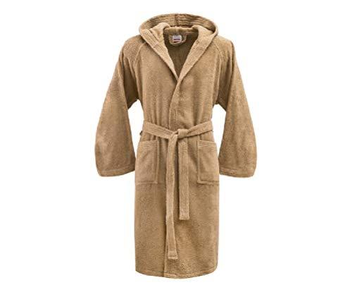 Bassetti - Albornoz con capucha para hombre/mujer, disponible en varias tallas y colores, 100% algodón marrón Corda Taglia S, 140-155 cm