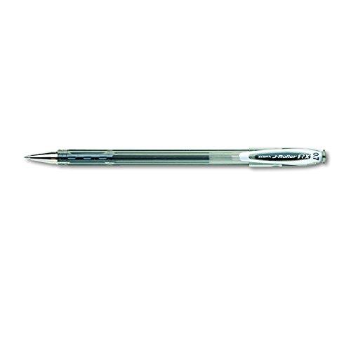 Zebra J-Roller RX Gel Ballpoint Stick Pen, Medium Point, 0.7mm, Translucent Black Barrel, Acid-Free Black Ink, 12-Count
