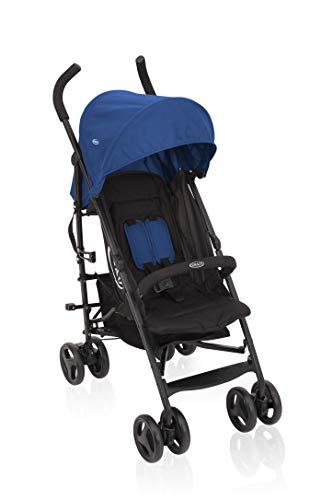 Graco TraveLite Buggy, leicht, klein zusammenklappbar, mit Liegeposition, stufenlos verstellbare Rückenlehne, Tragegriff, ideal als Reisebuggy, ab Geburt bis 15 kg, Kinderwagen Buggy blau, Caspian