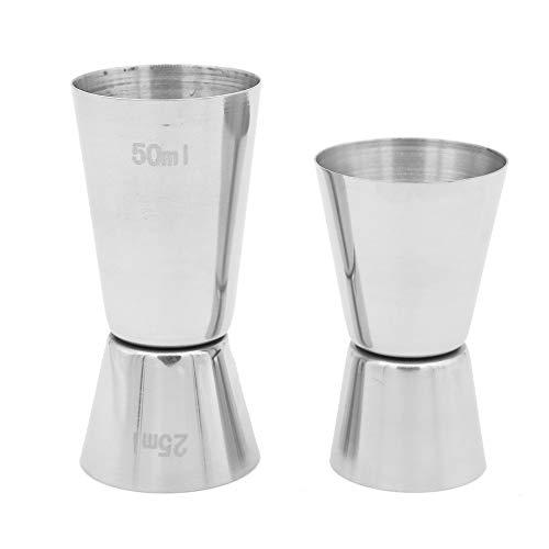Vaso Medidor de Cócteles, Acero Inoxidable, 25/50 ml & 15/30 ml