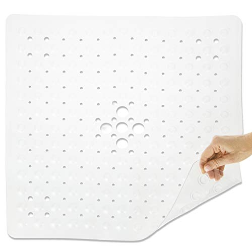 Vive Shower Stall Mat - Non Skid Bathtub Floor for Kids, Adults, Elderly - Square Bathroom Slipmat Bath Tub Suction Grip - Washable Non Slip, PVC
