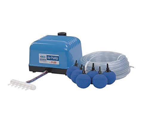 Aquaforte Hi-Flow V-20 Luftpumpenset, 25 m Luftschlauch (Ø 4 x 6 mm), 4x Ø 5 cm Luftsteinen