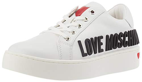Love Moschino Scarpe Sneakers da Donna in Pelle di Vitello, Ginnastica, Colore: Bianco, 38 EU