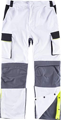 Work Team Pantalón Linea 5, 3 Colores. Cintura elástica, Multibolsillos,Bolso Rodilleras, Vivos Reflectantes. Hombre Blanco+Negro+Gris Oscuro 50