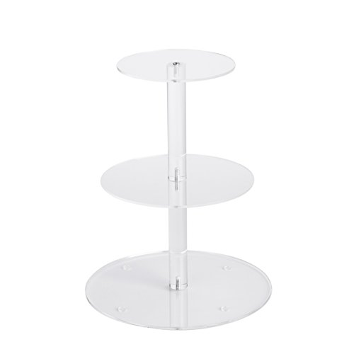 YestBuy 3 Tier Round Cupcake Stand, Acrylic Cake Stand, Cupcake Tower Stand, Premium Cupcake Holder for 28 Cupcakes, Display for Pastry Wedding Birthday Party (6' Between 2 Layers)