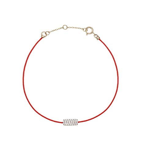 Boutique of Diamonds Red String Bracelet 14K White Gold Diamond Bezel Charm Jewellery For Good Luck, Protection & Strength – Handmade Adjustable Bracelets for Women's & Men's Gifts – One Size Fits All