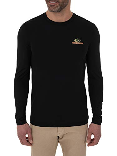 Mossy Oak Men's Moisture Wicking Long Sleeve Performance Shirt with Insect Repellent, XX-Large, Black
