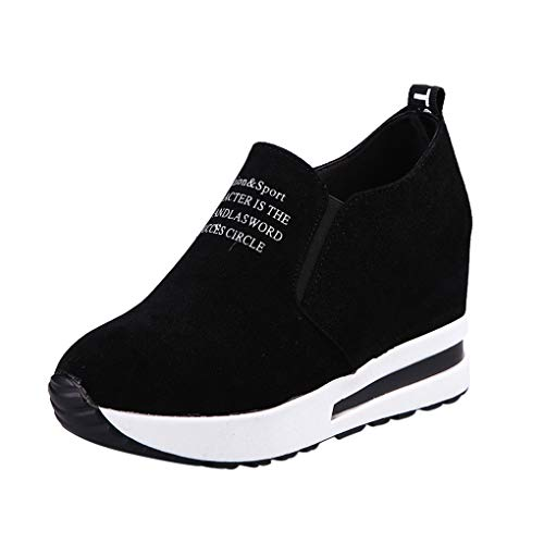 Keilabsatz Sneakers Für Damen/Dorical Frauen Plateau Freizeitschuhe Mode Slip On Sneaker Fashion Fitnessschuhe Ausverkauf(Schwarz,41 EU)