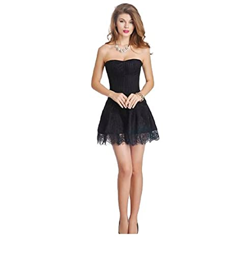 Black Lace Sexy Overbust Cremallera trasera Plus Size Corset...