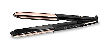 BaByliss ST481E Pure Metal Plancha de pelo profesional 2 en 1, alisa y ondula, con efecto TOP COAT, ajustes de temperatura de 150º a 230ºC, función iónica, Negro/ Oro rosa