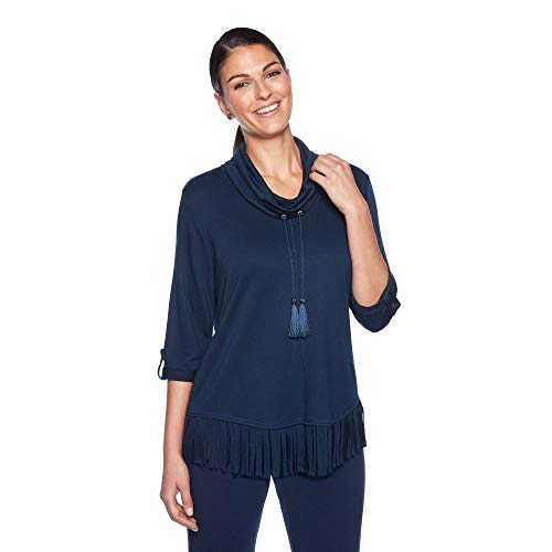 Ruby Rd. Women's Cowl Neck French Terry Pullover with Fringe, SAPPHHIRE, S