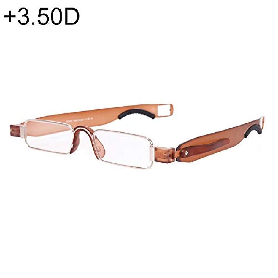 毛布トークン私達Diffomatealliance Glasses メガネ携帯用折りたたみ式360度回転老眼鏡、ペンぶら下げ、+ 3.50D(ブラック)