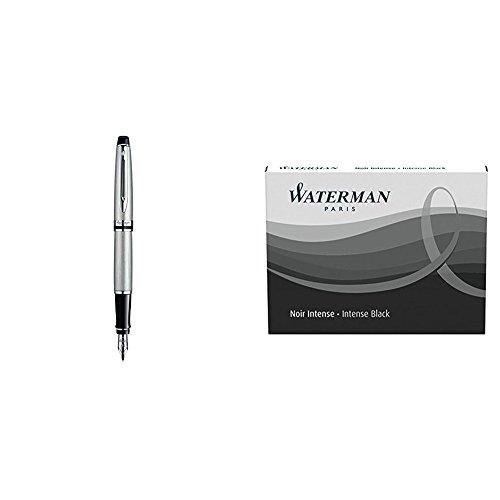 Waterman S0952040 Expert - Pluma estilográfica, metal con adornos cromados, plumín fino, con estuche + Waterman - Pack de 2 cartuchos de tinta negra permanente de tamaño estándar (8 unidades)