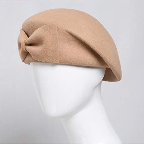 W.Z.H.H.H Sombrero Sombrero de Mujer Otoño Invierno Sombrero Femenino Retro Tazón Conjunto Lana Boina Gorras de Moda (Color : Camel, Size : M)