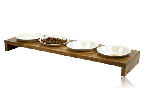 FINDAL - Katzennapf 4er Set aus Holz Akazie mit 4 weißen Keramik Schalen, Futternapf für Katze & Hund erhöht, Fressnapf spülmaschinenfest & modern, Katzen Napf für Trockenfutter, Nassfutter & Wasser