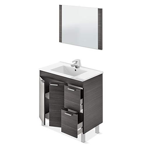 ARKITMOBEL Mueble de Baño con 2 Puertas 2 Cajones y Espejo, Modulo Baño, Modelo Aktiva, Acabado en Gris Ceniza, Medidas: 80 cm (Ancho) x 80 cm (Alto) x 45 cm (Fondo)
