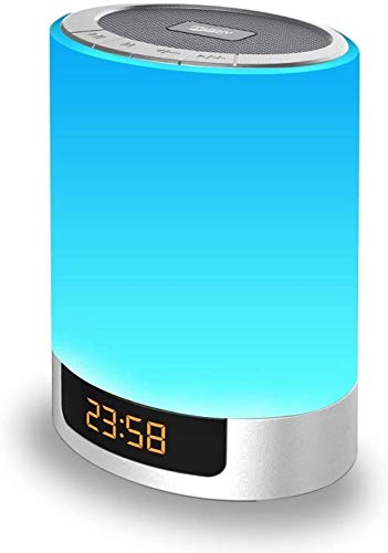MJDUO Night Lights Bluetooth Speaker, Alarm Clock with Touch Control LED Lamp Bedside Lamp Color Changing Wireless Speaker USB AUX MP3 Music Player Best Gift for Kids,Party,Outdoor, Bedroom