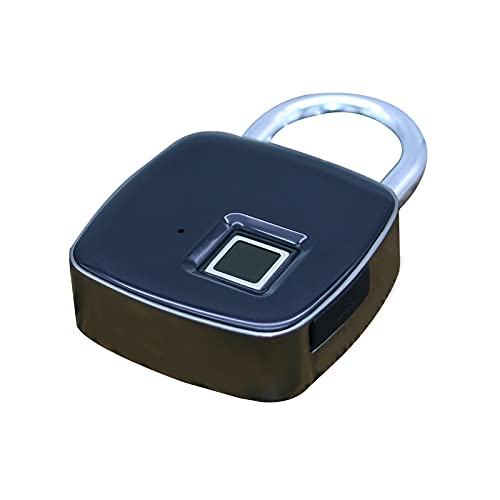 Fingerprint Padlock,ONEVER Smart Fingerprint or Remote via Phone App, Keyless Lock with USB Charging,Waterproof,Unlock Record,Remotely Authorized,LED Display for House Door, Gym