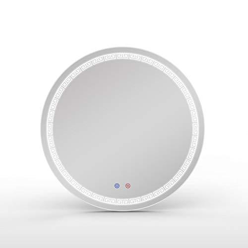AYYEBO Cuarto de Baño Redondo HD Espejo de Pared 60X60CM LED Iluminación IP44 Impermeable Demister Espejo de Vanidad
