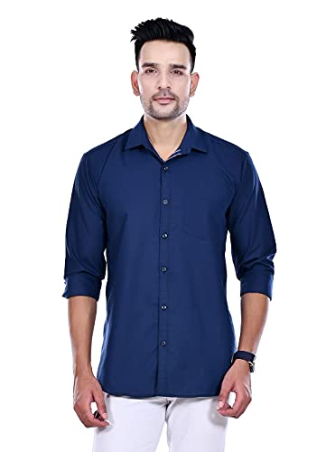 Blue Zed 100% Cotton Plain Solid Casual Shirt Full Sleeves for Men