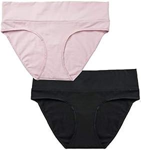 Gratlin Braguitas de Maternidad Ropa Interior Embarazada Premamà para Mujer Pack de 2 Negro/Rosa M