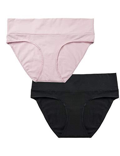 Gratlin Braguitas de Maternidad Ropa Interior Embarazada Premamà para Mujer Pack de 2 Negro/Rosa XL