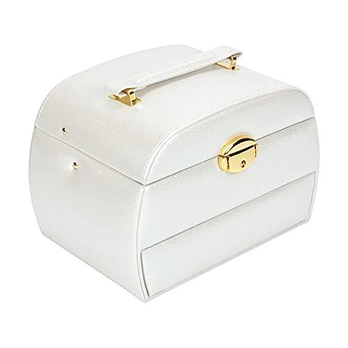 LSLS Caja joyero Caja organizadora de Caja de joyería de 3 Capas con cajón de Espejo Apertura semiautomática y Cierre de Cuero para Pendientes Anillos Collares Organizador de Joyas