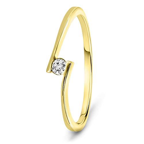Miore Ring Damen 0.05 Ct Solitär Diamant Verlobungsring aus Gelbgold 9 Karat / 375 Gold, Schmuck