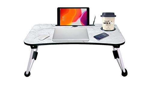 Qualimate Laptop Table Foldable Portable Adjustable Multifunction Study Lapdesk Table for Breakfast Bed Tray Office Work Gaming Watching Movie on Bed/Couch/Sofa/Floor with Cup Slot (Marble Light)