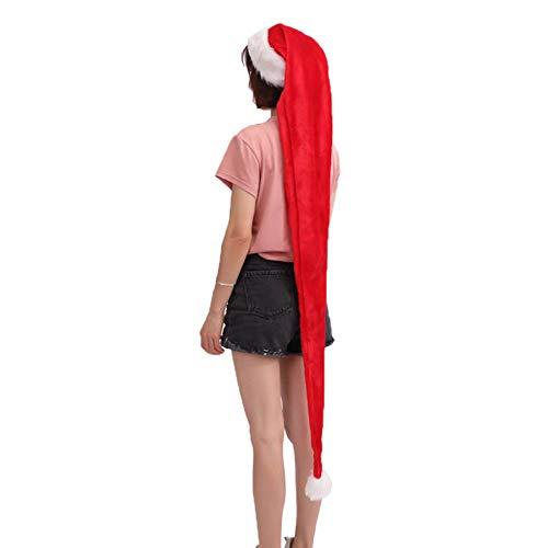 E-House Kerstmis leveringen 1,5 m Ultra Long Volwassen pluche Kerstmis Hoed Cap Xmas Supply Geschenk Fotografie Prop rood