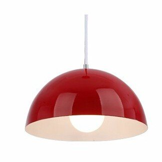 Modern Semi Circle Pendant Lamp Hanging Lights Fixture Hanglamp for Home Indoor Dining Room Office Lighting Fixture Decor,Red-25cm